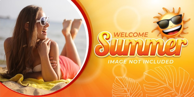 Editable text effect welcome summer banner style illustrations