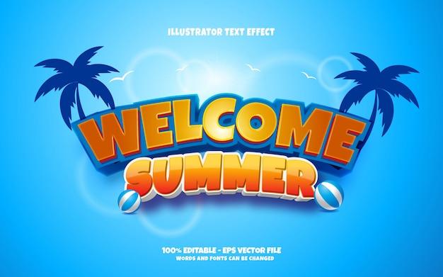 Редактируемый текстовый эффект, иллюстрации в стиле welcome summer