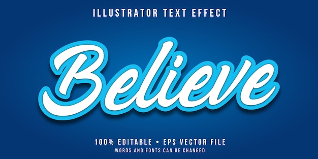 Editable text effect - white and blue calligraphy style