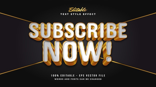 Editable text effect in white and gold with embossed and realistic effect