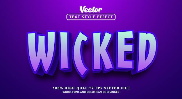 Editable text effect, wicked text on neon poster color style