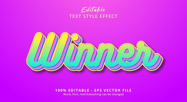 편집 가능한 텍스트 효과, 밝은 색상 조합 스타일의 우승자 텍스트