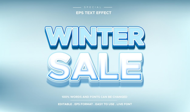 Editable text effect  winter sale style