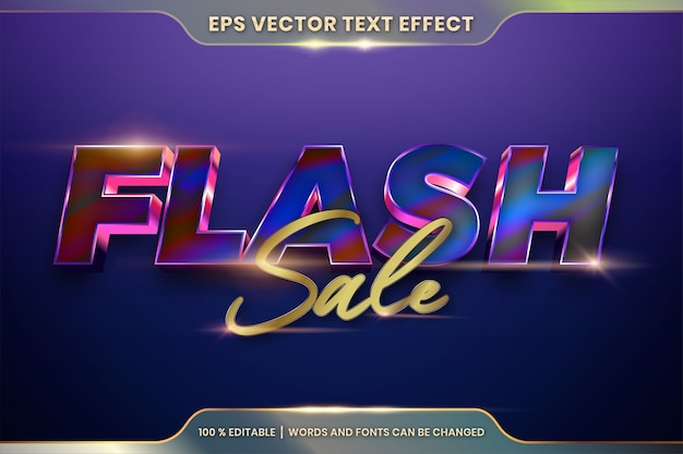 Editable text effect with flash sale words Premium Vector