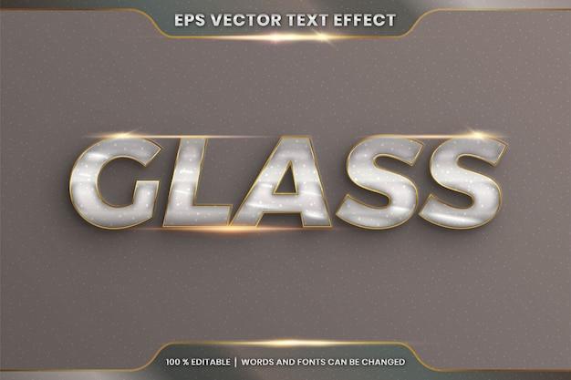 Редактируемый текстовый эффект со словом glass