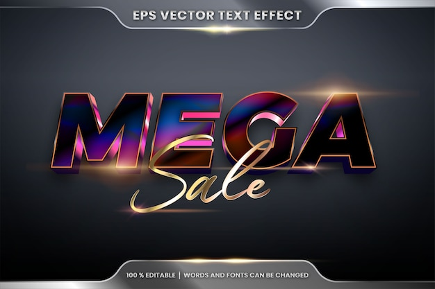 Editable text effect with mega sale words