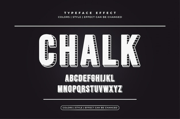 Editable text effect with white chalk style