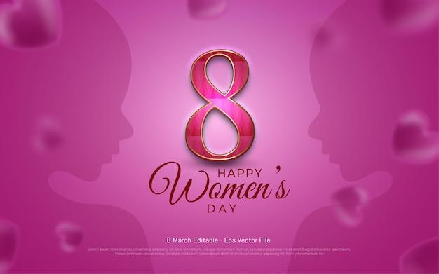Редактируемый текстовый эффект, женский день 8 марта с женскими силуэтами