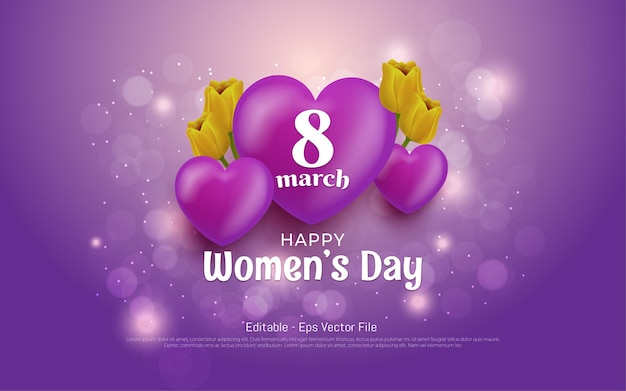 Editable text effect, womens day 8 march