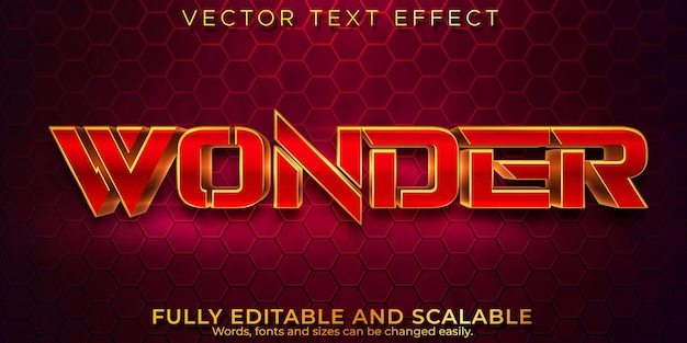 Editable text effect, wonder luxury text style