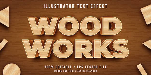 Editable text effect - wood carving style