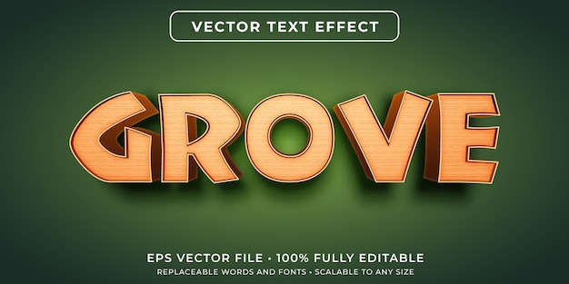 Editable text effect in wooden effect style