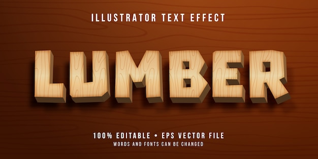 Editable text effect - wooden style