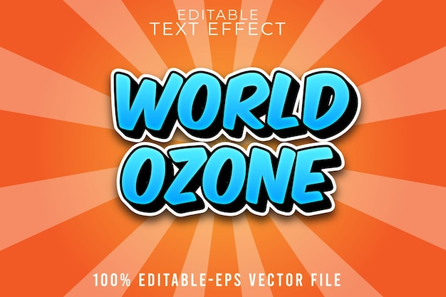 コミックスタイルの編集可能なテキスト効果世界オゾン