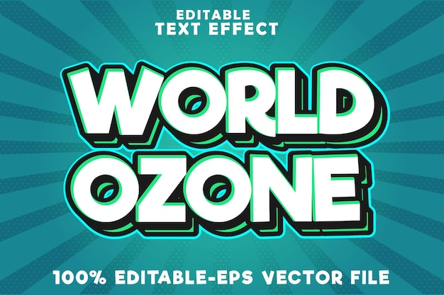 Editable text effect world ozone with new comic pop art style
