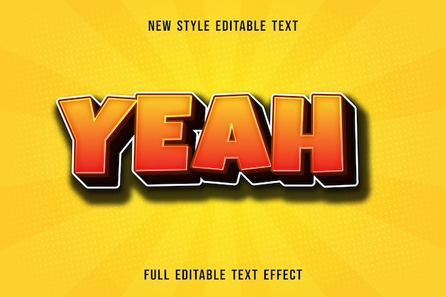 Editable text effect yeah color orange and brown