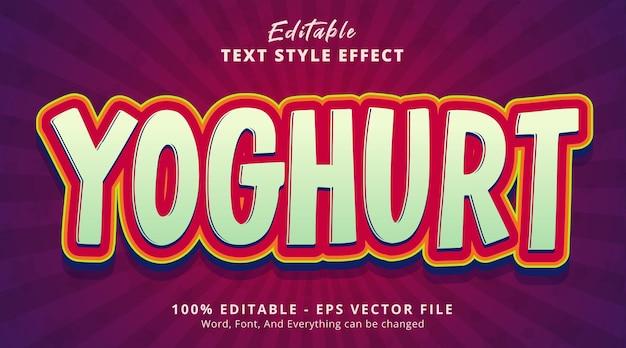 編集可能なテキスト効果、きれいな色の組み合わせスタイルのヨーグルトテキスト