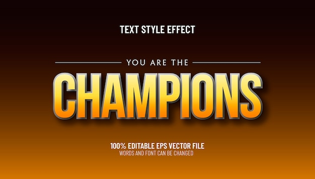 Editable text effect you are the champions style