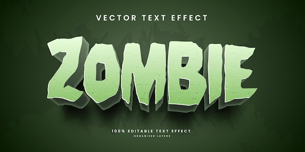 Editable text effect in zombie style premium vector