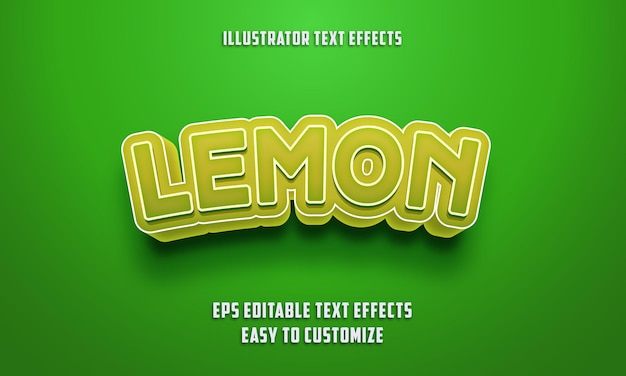 Editable text effects style on green and lemon color