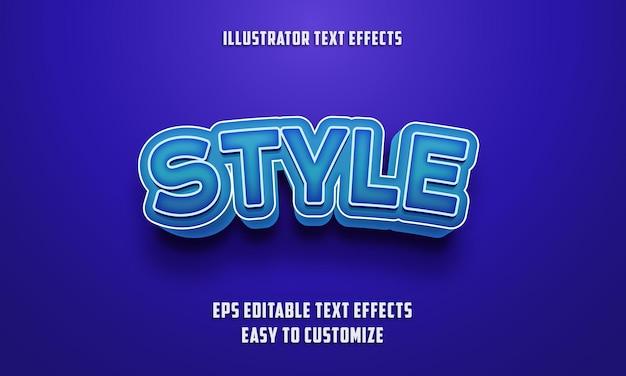 Редактируемый стиль текстовых эффектов на синем цвете