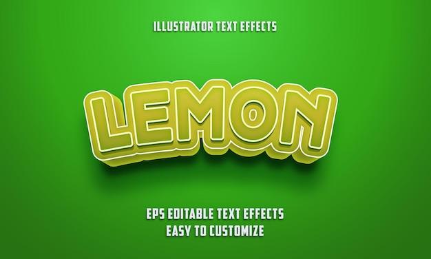Редактируемый стиль текстовых эффектов на зеленом и лимонном цвете