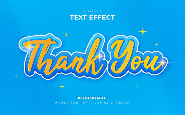 Editable text effects thank you style