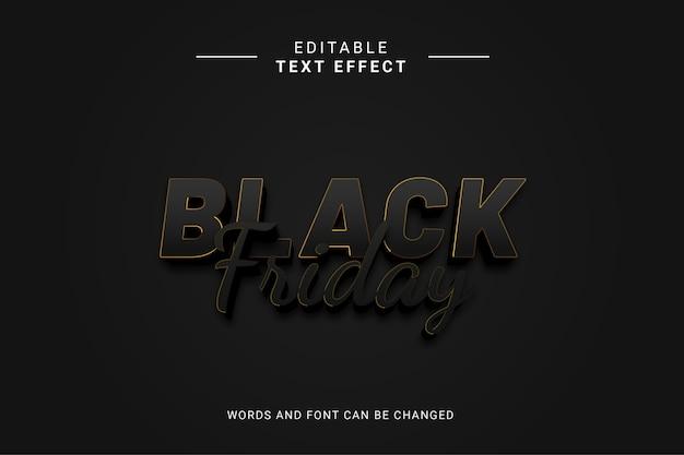 Редактируемый текст effext black friday с золотыми линиями и черным цветом
