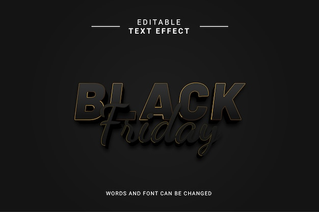 Editable text effext black friday with gold lines and black color