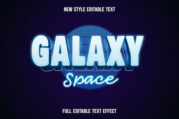 Editable text galaxy space color white and blue