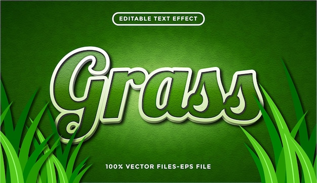 Editable text grass with floral style premium vector