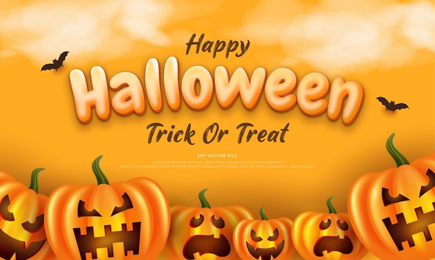 Editable text halloween background in flat design with pumpkin and bat