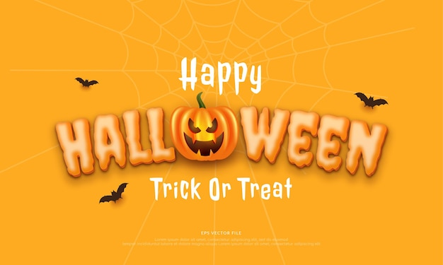 Editable text happy halloween with creepy and laughing pumpkins