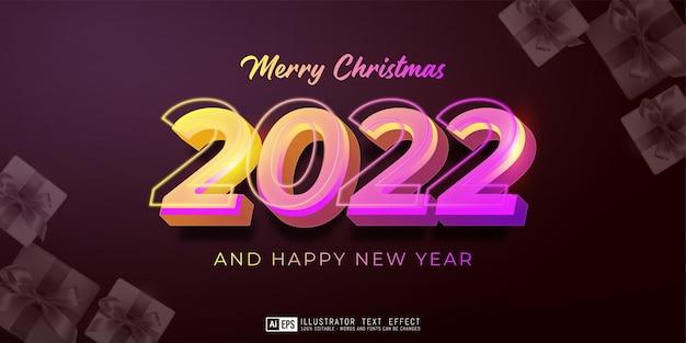 Editable text happy new year 2022 neon design