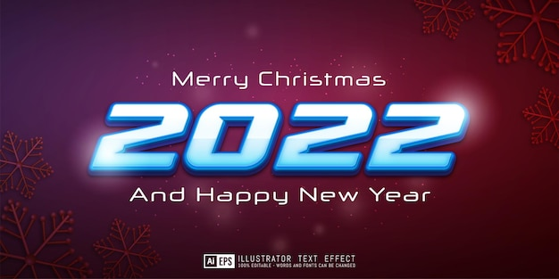Editable text happy new year and merry christmas for banner template
