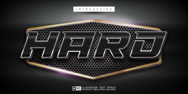 Editable text hard style metal design on dark concept