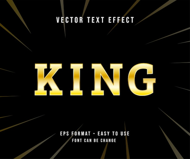 Editable text king gold effect illustrator