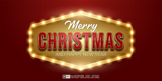 Editable text merry christmas golden luxury design suitable for christmas banner