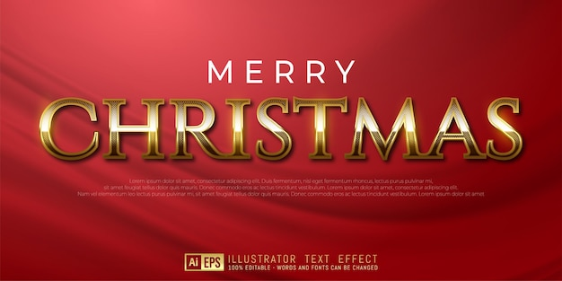 Editable text merry christmas golden style effect suitable for christmas banner