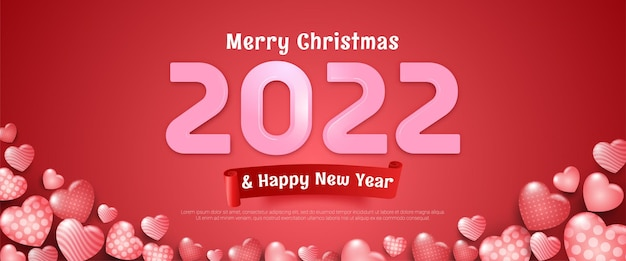 Editable text merry christmas and happy new year banner in pink background and some heart shaped balloons