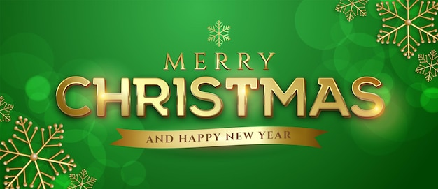 Editable text merry christmas style effect suitable for christmas banner on green background
