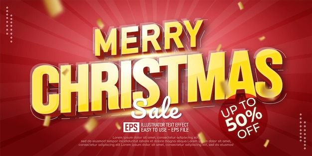 Editable text merry christmas text style suitable for christmas banner promotion