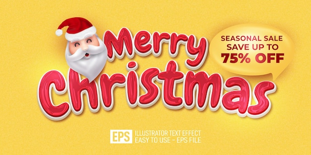 Editable text merry christmas on yellow background