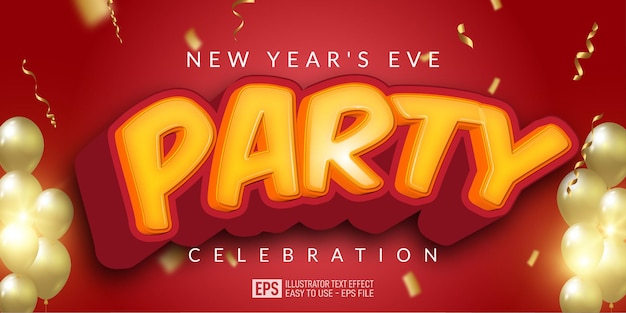 Editable text new year's eve party, with gold ribbon party elements and multiple balloons on red background