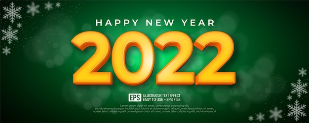 Editable text number 2022 3d style effect on green background