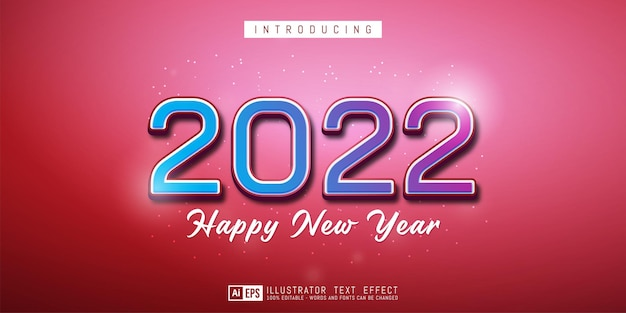 Editable text number 2022 colorful style effect on red background