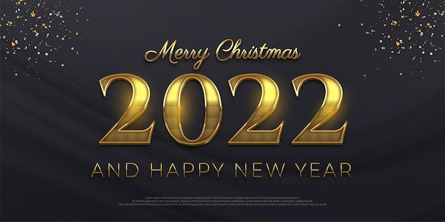 Editable text number 2022 golden style effect on dark background
