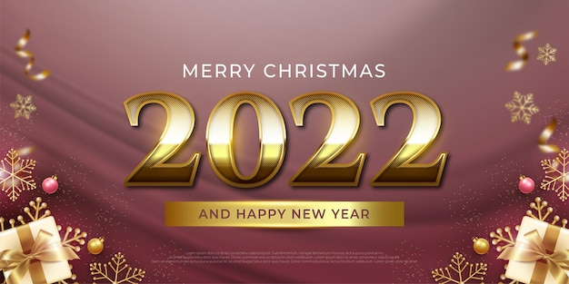 Editable text number 2022 golden style effect suitable for christmas banner