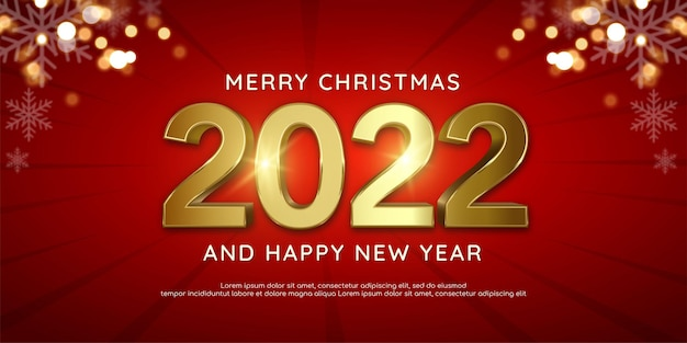 Editable text number 2022 happy new year banner gold design on red color background