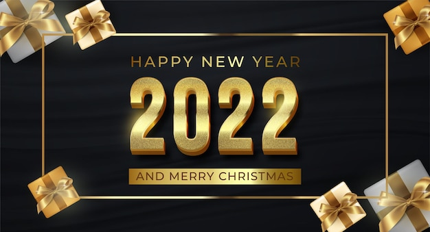 Editable text number 2022 luxury design on dark background